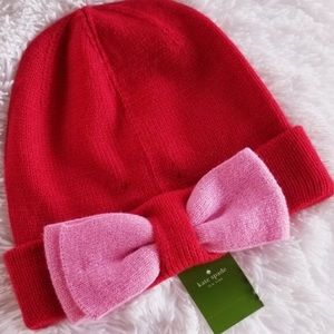 Kate Spade NWT Red & Pink Colorblock Bow Beanie